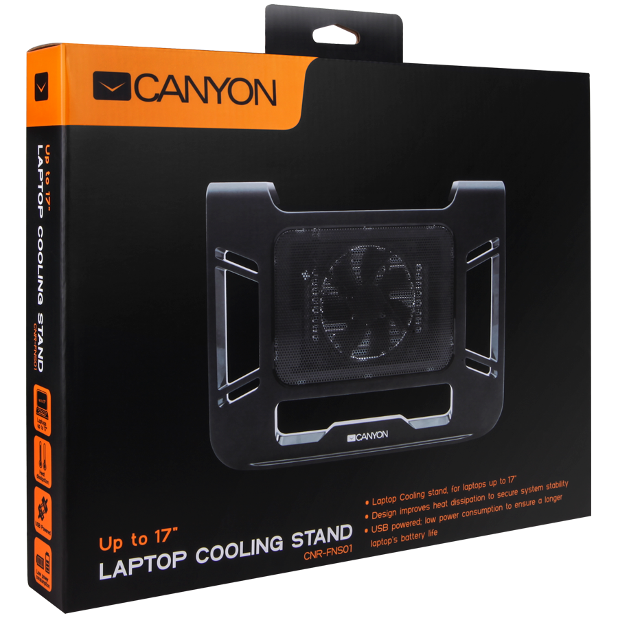 Canyon Laptop Cooling Stand for laptop up to 17', black colo