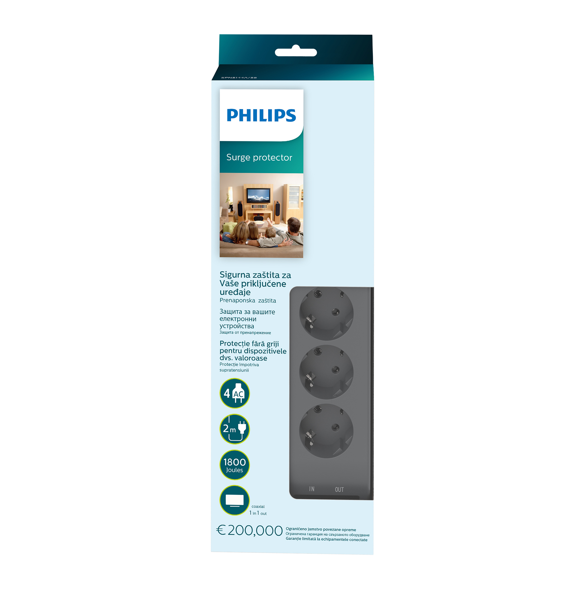 Philips Surge protector, 4 outlets, 10 A, 3 lines protection
